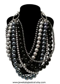 "The statement necklace guaranteed to match anything and everything in your closet! From the J by JT ""Classic Collection"" in black, grays, silver, and gunmetal. So loving it! CLASSIC Statement Necklace Black Gray Silver by JewelryByJessicaT,"
