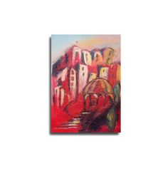 Toscana Collage / red Canvas / Drawing by Kunstmuellerei on Etsy