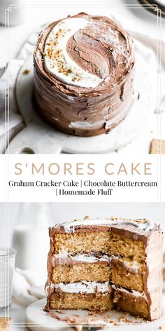 S'mores Layer Cake This s'mores layer cake is made up of graham cracker flavored cake layers, frosted with chocolate Swiss meringue buttercream and homemade heavenly marshmallow fluff. Just Desserts, Delicious Desserts, Dessert Recipes, Yummy Food, Bbq Desserts, Dessert Food, Cheesecake Recipes, Graham Cracker Cake, Graham Crackers