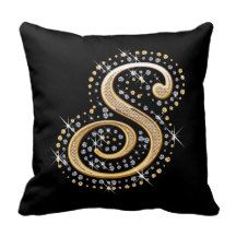 Elegant diamonds monogram S pillow