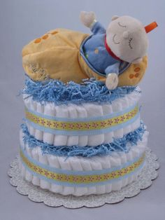 My Little Peanut Diaper Cake is so precious! I think its one of the cutest plush toys I have ever seen. It is actually 2 separate pieces, a soft baby doll and the peanut shell in which he lays.