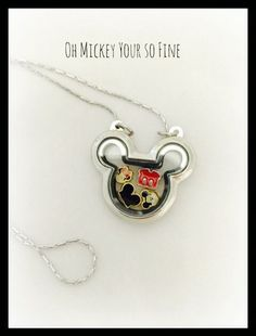 Mickey Mouse floating locket charm Necklace