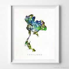 Thailand Watercolor Map Home Decor Wall Art Poster - Prices from $9.95 - Click Photo for Details -#map #watercolormap #travel #mapart#poster#nursery#wallart #thailandmap