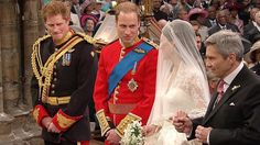 Official photo.  Catherine Middleton and  Britain's Prince William and married as Prince Harry looks on.