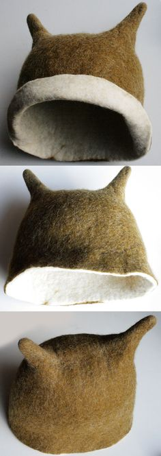 Olive Beetle Hat -- Hand Felted Wool. [I need this!]