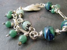 Fish Hook Sterling Silver, Lampwork, Aventurine, & Amazonite Bracelet by sundown_bead_designs, via Flickr