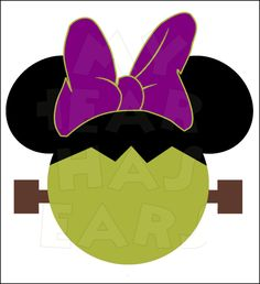 Minnie Mouse Frankenstein INSTANT DOWNLOAD Halloween digital clip art Printable DIY iron on transfer for t-shirts by My Heart Has Ears