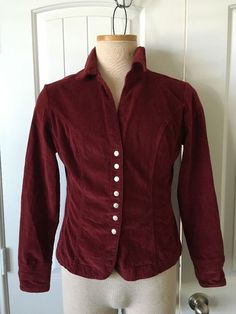 Women's Jacket Cotton Size M Long Sleeves Cranberry Color by Live a Little #LiveaLittle #BasicJacket