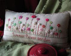 Mi primavera flor jardín almohada estilo casa de campo