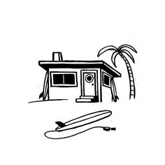 Surf Shack for T-Shirts . Surf Drawing, Beach Drawing, Travel Drawing, Daily Drawing, Surf Shack, House Sketch, House Drawing, Surfing Lifestyle, Tattoo Minimaliste