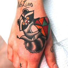 Raccoon tattoo - old school by Jimmy Duvall