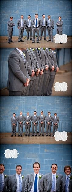 Groomsmen in gray suits from Banana Republic with blue ties. Love this summer look! Sabetha Kansas Wedding Photographers #melissaandbeth #weddingphotography #groomsmen