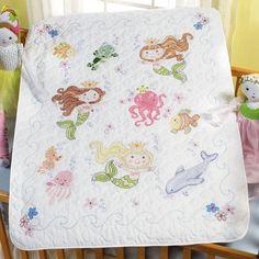baby sea animal quilt patterns | Little Explorer Crib Cover Kit & Mermaid Bay Crib Cover Kit