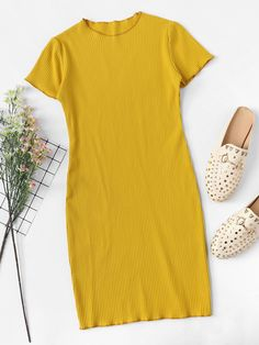 Shop Lettuce Trim Ribbed Knit Dress at ROMWE, discover more fashion styles online. Lazy Day Outfits, Teenage Girl Outfits, Cute Comfy Outfits, Casual Dress Outfits, Summer Dress Outfits, Teen Fashion Outfits, Modern Outfits, Simple Outfits, Chic Outfits