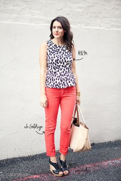 Black and white floral tank (ON), bright jeans or pink jeans, black booties.