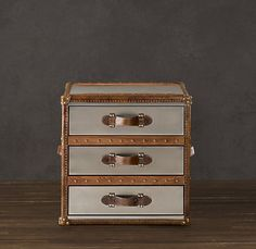 Steamer Trunk Side Table With 3 Leather Handled Drawers (brown And Grey)