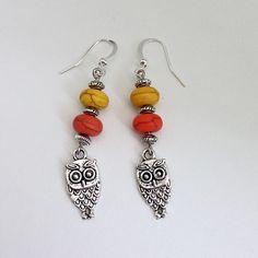 Orange & Yellow Beaded Dangling Drop Earrings with Silver Owl Charm, Casual Drop Dangle Earrings Earings by EverydayWomenJewelry on Etsy https://www.etsy.com/listing/232807058/orange-yellow-beaded-dangling-drop