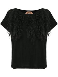 T-Shirt Feather Collar Black