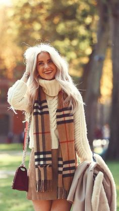 White sweater plaid