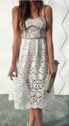 Stunning floral lace bodice with beige lining is decorated with pierced embroidery beneath a sweetheart neckline and expert tailoring. Flaring midi skirt completes the stunning silhouette with sheer lace towards the hem. Estilo Fashion, Fashion Moda, Runway Fashion, Fashion Trends, Women's Fashion, Lace Midi Dress, Dress Skirt, Pretty Dresses, Beautiful Dresses