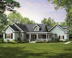 <ul><li>Country living in a unique floor plan makes this design the perfect choice for just the right family. </li><li>The covered front porch opens to an angled foyer that leads to a large great room with a sloped ceiling and fireplace. </li><li>To the right is the formal dining room, defined by columns and plenty of windows overlooking the porch. </li><li>Two secondary bedrooms share a full bath at the front of the plan. <...
