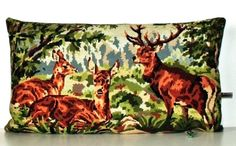 French Unique Vintage Tapestry Needlepoint Stags by Retrocollects