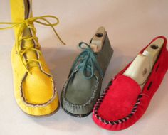 """Here are three moccasins from my """"how to make moccasins"""" book: high boot, shoe, and loafer, all from the same pattern."""