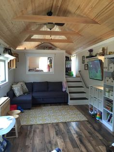 39 ′ Gooseneck Tiny House w / loft Make the stairs foldable without Gooseneck, and . - 39 ′ Gooseneck Tiny House w / loft Make the stairs foldable without Gooseneck, door to bathroom o - Little House, House Design, Tiny Spaces, Small Spaces, Home, House Plans, House Interior, Tiny House Interior Design, Little Houses