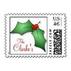 Holly Last Name Christmas Postage Stamp