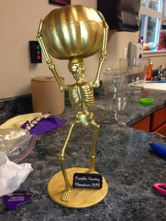 Halloween Best Costume / Pumpkin Carving Contest Trophies - Emma Lee home Halloween Office, Halloween Party Games, Halloween Birthday, Holidays Halloween, Spooky Halloween, Halloween Pumpkins, Halloween Decorations, Costume Halloween, Halloween Dance