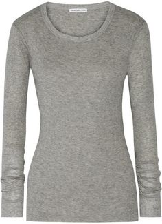 James Perse - Ribbed Cotton And Cashmere-blend Top - Gray