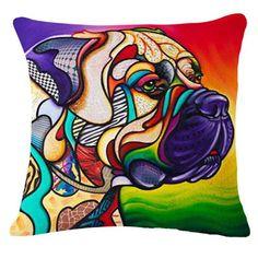 Cosmos the Bullmastiff - The Art of Steven Schuman Cãezinhos Bulldog, French Bulldog, Bulldog Puppies, Relationship Drawings, Rainbow Dog, Tapestry Kits, Ouvrages D'art, Dog Cushions, Colorful Animals