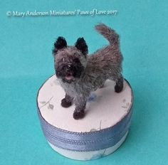 1:12 OOAK realistic Cairn Terrier Handmade Dollhouse Puppy Dog by Mary Anderson
