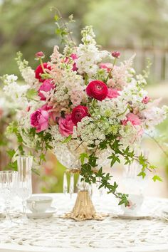 Fuchsia and Blush Vintage Inspired Centerpiece | Whimsical Garden Wedding Inspiration Shoot