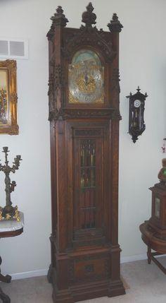 Waltham Gothic Grandfather Clock at antique-clock.com
