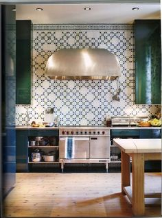 emerald green kitchen cabinets, pattern tile backsplash, wood floor kitchen