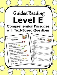 Reading Comprehension Passages by Guided Reading Level ~ Designed to help students learn to answer text-based questions.  Also handy for fluency work and homework. Currently available for Levels C, D, E, F, G/H, I/J and K/L. ($)