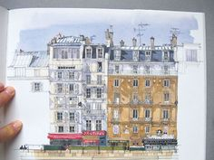 """Watercolor from """"Paris Sketchbook"""": one of many beautiful books based on sketches by Fabrice Moireau. Moleskine, Building Illustration, Illustration Art, Illustrations, Artist Journal, Artist Sketchbook, Fabrice Moireau, Travel Sketchbook, A Level Art"""