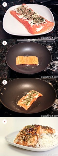 """""""What I like about this recipe is that I already had all of the ingredients in my pantry. The one """"non-conventional"""" ingredient for some might be nori furikake."""" Nori Furikake Salmon by: Serena T. for a taste of Hawaii on the east coast! #salmon #stepbystep #recipe"""