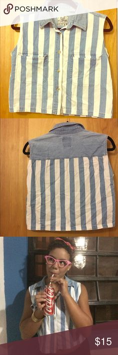 Vintage lines shirt Vintage straps shirt. Great conditions. White and light blue. Great to used as a costume or just in a casual day, also you can used under a sweater Tops Blouses