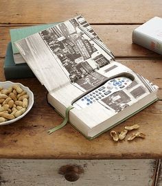 Book Safe: Create a book safe for his valuables or even a place to hide his remote in.  Source: Country Living