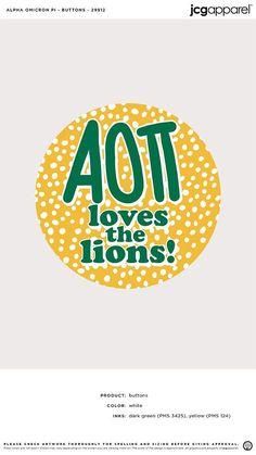 Alpha Omicron Pi Buttons | Sorority Buttons | Greek Buttons #alphaomicronpi #aopi #aoii #aop #buttons #dots #fun Alpha Omicron Pi, Custom Design Shirts, Fraternity, White Ink, Apparel Design, Sorority, Screen Printing, Greek, Dots