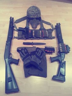My airsoft shotgunners loadout on the left: Tokyo Marui M3 Super 90 (3-burst) on the right: ASG Franchi SAS  (single shot)