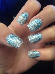 Blue silver glittery prom nails