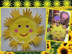 Soleil réalisé par Gaspard avec une assiette en carton, explications sur mon blog