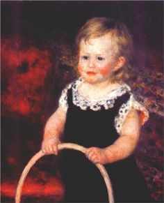 """""""Child with a Hoop"""" by Pierre-Auguste Renoir. 1875 oil on canvas. In the collection of the Baltimore Museum of Art, MD."""
