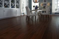 "Dark & distressed Bronzed Mahogany! ""Darker flooring is often recommended because it gives a room a fresh and open feel that can make the space look larger."" - Josh Altman, Celebrity Realtor http://www.lumberliquidators.com/ll/flooring/ffs-trends"
