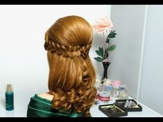 Romantic hairstyle for long hair with french braids - YouTube