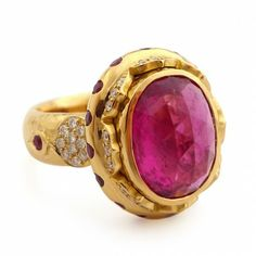 20K Rising Red Scallop Diamond and Rubelite Ring
