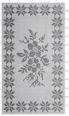 Filet crochet chart for a rose Filet Crochet Charts, Crochet Borders, Crochet Cross, Crochet Diagram, Thread Crochet, Crochet Motif, Crochet Doilies, Knit Crochet, Crochet Alphabet